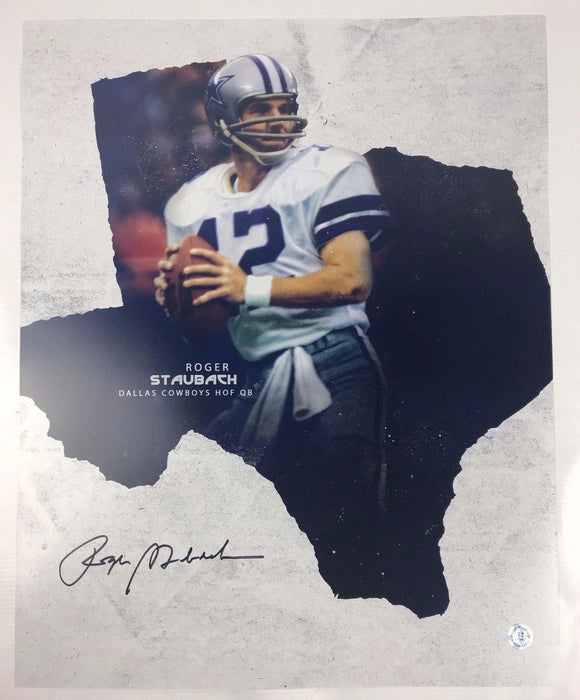 Roger Staubach Authentic Autograph Dallas Cowboys 16x20 Photo COA HOF Navy 4