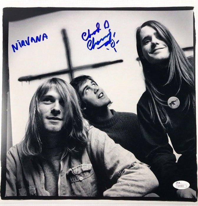 CHAD CHANNING w/ Kurt Cobain Autograph Nirvana 12x12 Photo JSA Bleach Signed Z1