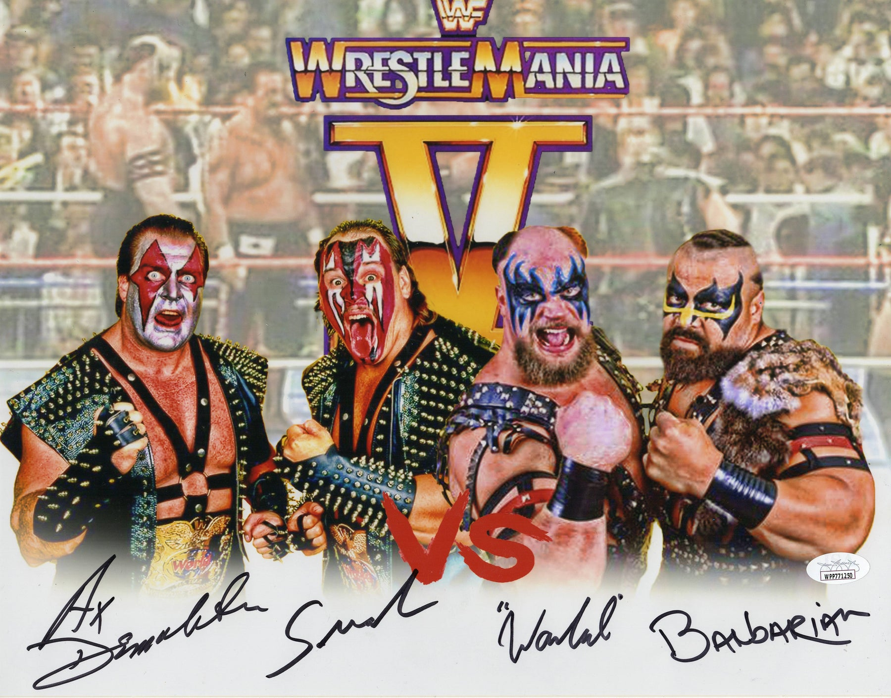 Demolition vs The Powers of Pain Autograph 11x14 Photo Wrestlemania V JSA COA