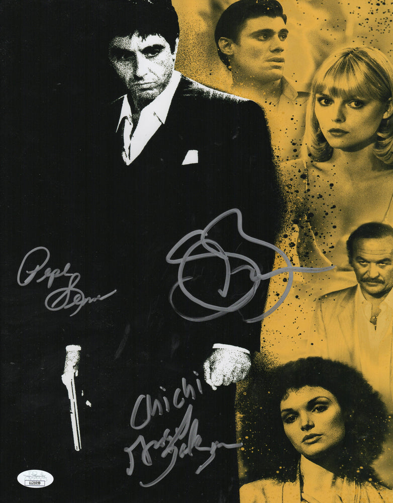 Scarface Cast Autograph 11x14 Photo Steven Bauer Angel Salazar Pepe Serna JSA COA 2