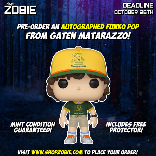 Stranger Things Dustin (At Camp) Pop! Presale Autographed by Gaten Matarazzo