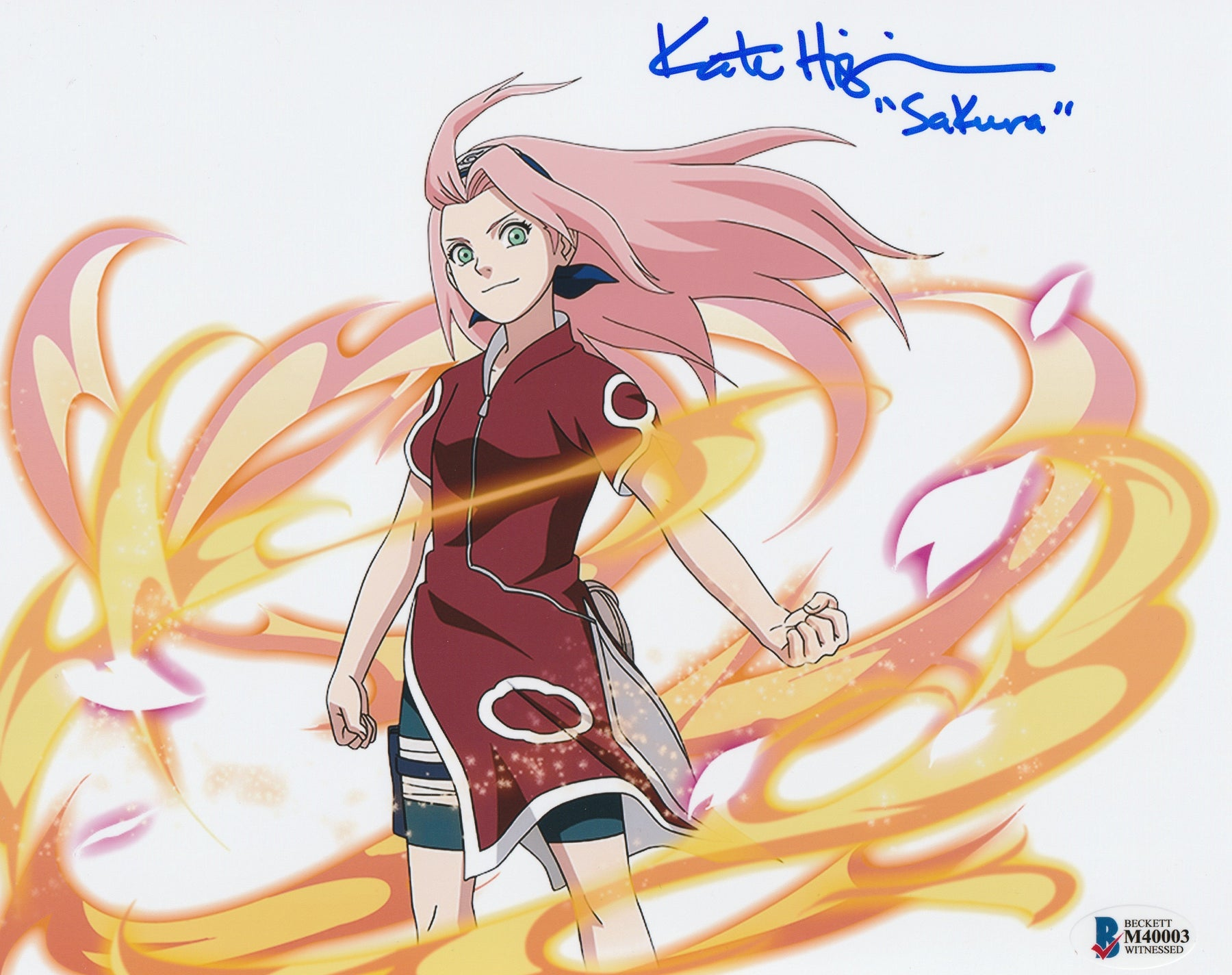 Kate Higgins Autograph 8x10 Photo Naruto Sakura Signed BAS COA