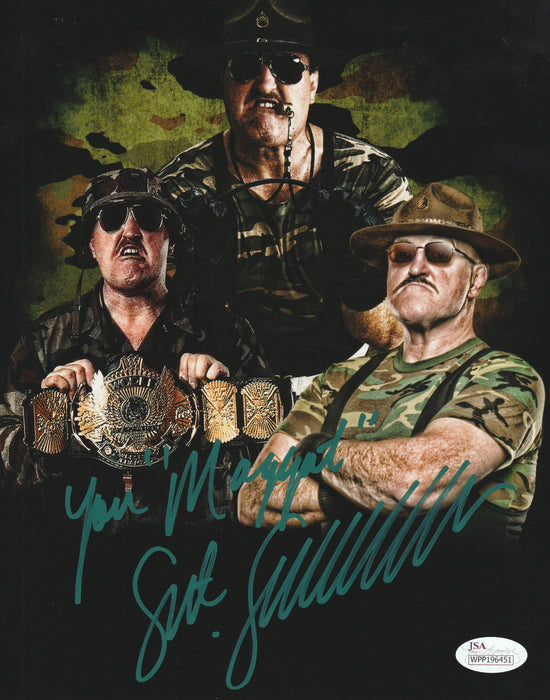 SGT. Slaughter Autograph 8x10 Photo WWF WWE HOF Legend JSA COA