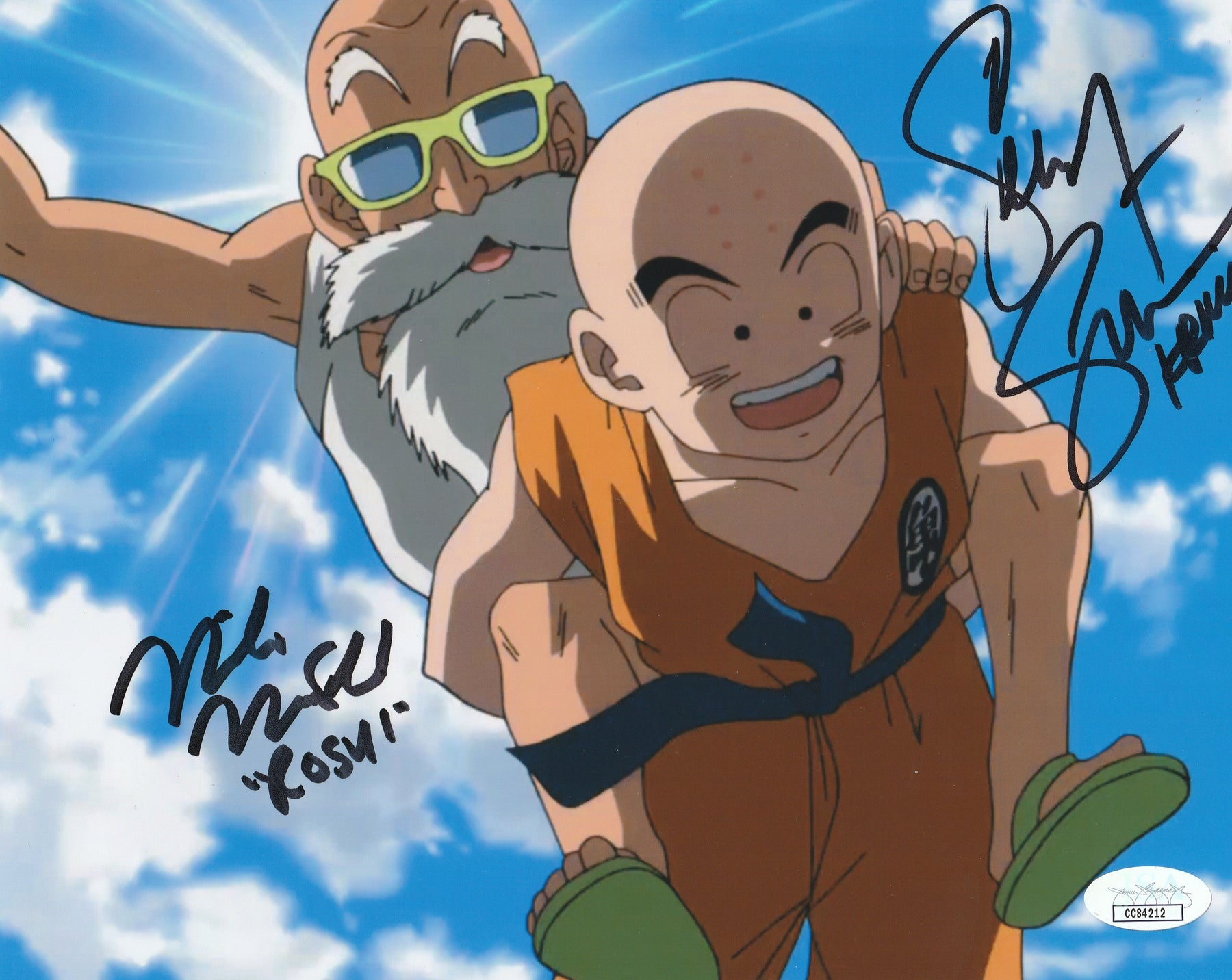 Mike McFarland and Sonny Strait Autograph Dragon Ball Z Krillin Roshi 8x10 Photo JSA