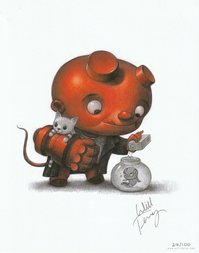 Zobie Box - Limited Edition 8x10 Art Print - Baby Hellboy Variant by Will Terry