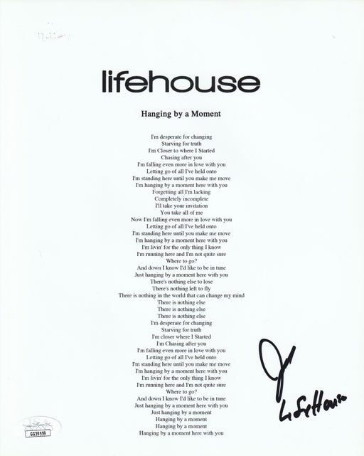 Jason Wade Autograph 8x10 Lyrics Sheet Lifehouse Lead Singer Signed JSA COA