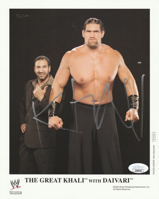 The Great Khali Autograph 8x10 Promo Photo WWF Signed JSA COA