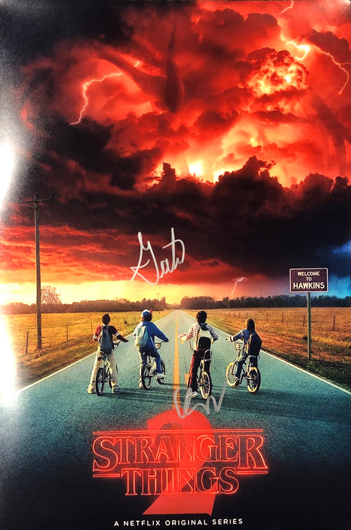 Gaten Matarazzo & Finn Wolfhard Autograph 12x18 Photo Stranger Things JSA