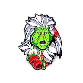 "Zobie Box - Limited Edition 2"" Enamel Lapel Pin - Grinch - Santa Variant"