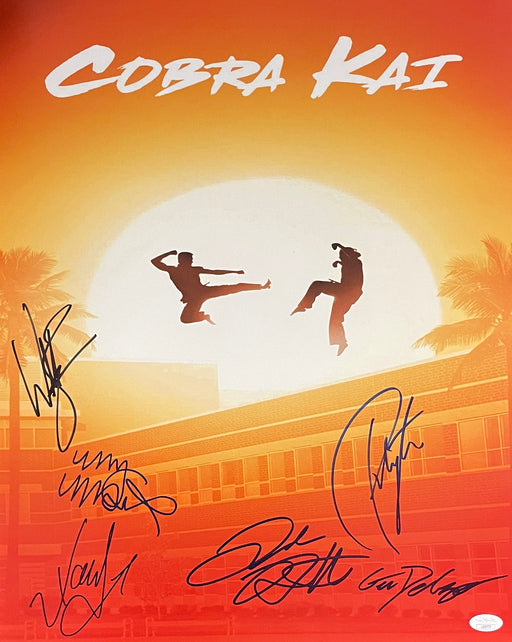 Cobra Kai Cast Autograph 16x20 Photo Zabka Xolo Jacob Gianni Peyton Mary Signed JSA COA