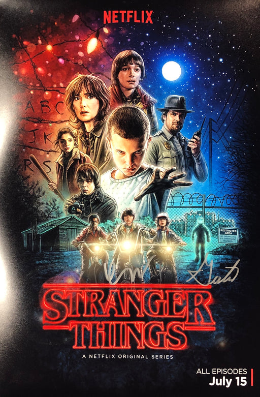 Gaten Matarazzo & Finn Wolfhard Autograph 12x18 Photo Stranger Things JSA 2