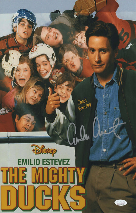 Emilio Estevez Autograph 11x17 Photo The Mighty Ducks Signed JSA COA
