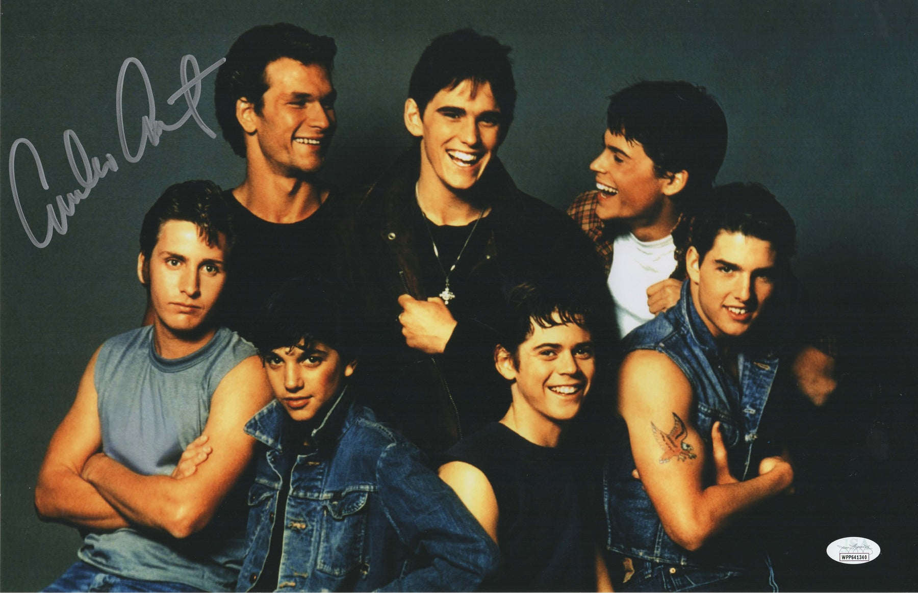 Emilio Estevez Autograph 11x17 Photo The Outsiders Signed JSA COA 2