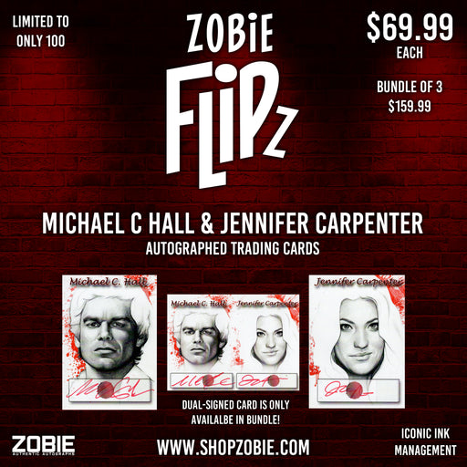 SPECIAL Zobie Flipz Autographed Trading Cards - Series 3 - Michael C Hall & Jennifer Carpenter