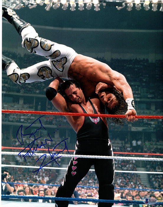 Bret Hart Signed 11x14 Photo WWE WWF Hitman Autograph Beckett COA Z6