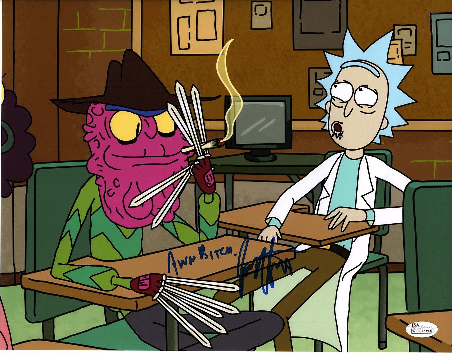 Jess Harnell Autograph 11x14 Photo Rick & Morty Scary Terry Signed JSA COA 2