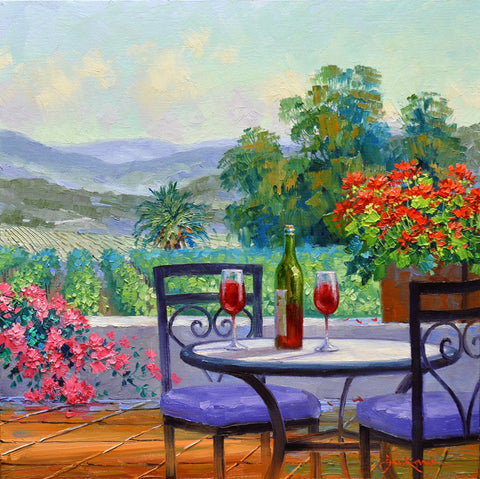 "Romantic Impressionism artist Mikki Senkarik creates ""A World of Happiness"" with a table set for two in a lush vineyard setting perfect for blooming the ""Romance of Napa""."