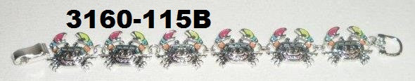 3160-115B SILVER AND MULTI COLOR CRAB BRACELET