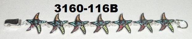 3160-116B SILVER AND MULTI COLOR STARFISH BRACELET