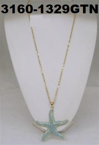 3160-1329GTN  GOLD & TURQ STARFISH NECKLACES