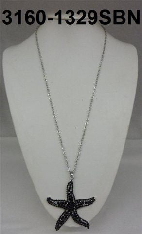 3160-1329SBN  SILVER & BLACK STARFISH NECKLACES