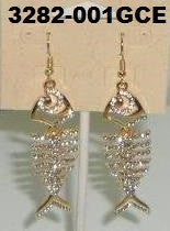 3282-001GCE GOLD BONE FISH EARRINGS