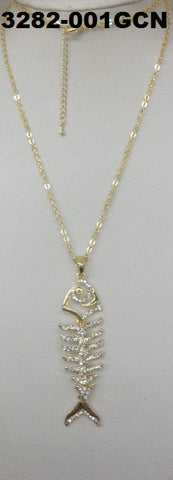 3282-001GCN GOLD BONE FISH NECKLACE