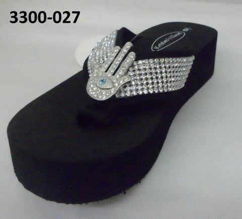 3300-027 HAMZA WITH EVIL EYE BLING SANDALS