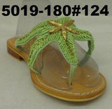 1-5019-180  STARFISH SANDAL BEADED HAND MADE LEATHER & NON SLIP SOLE WITH GOLD STAR THONG