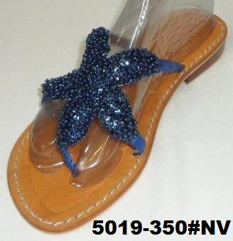 5019-350#NV NAVY STARFISFH LEATHER SANDALS HAND MADE