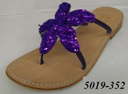 1-5019-352 PURPLE HEAVILY SEQUINED STARFISH LEATHER SANDAL WITH NON SLIP SOLE