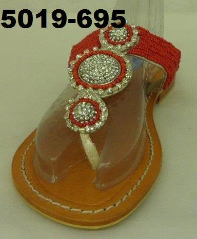 5019-695 RED THONG LEATHER SANDALS WITH CLEAR RHINESTONES MADE LEATHER & NON SLIP SOLER