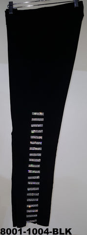8888-1004  LADDER PANT WITH CLEAR RHINESTONES BLING ( BALCK ; WHITE & DENIM )