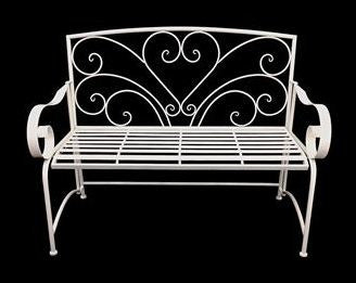 Garden Bench Cream Metal