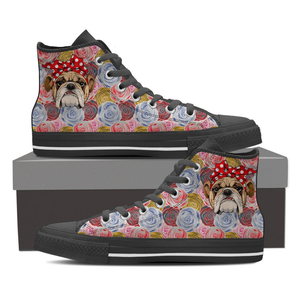 Rosey The Bulldog Women's High Tops - Black or White