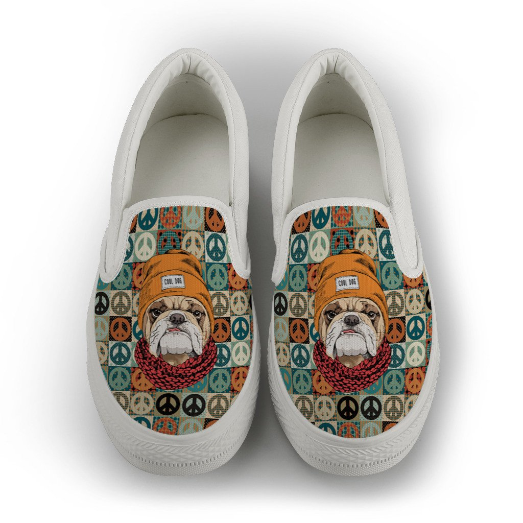 Peace Maker Bulldog Women's Slip On Shoes in Black or White