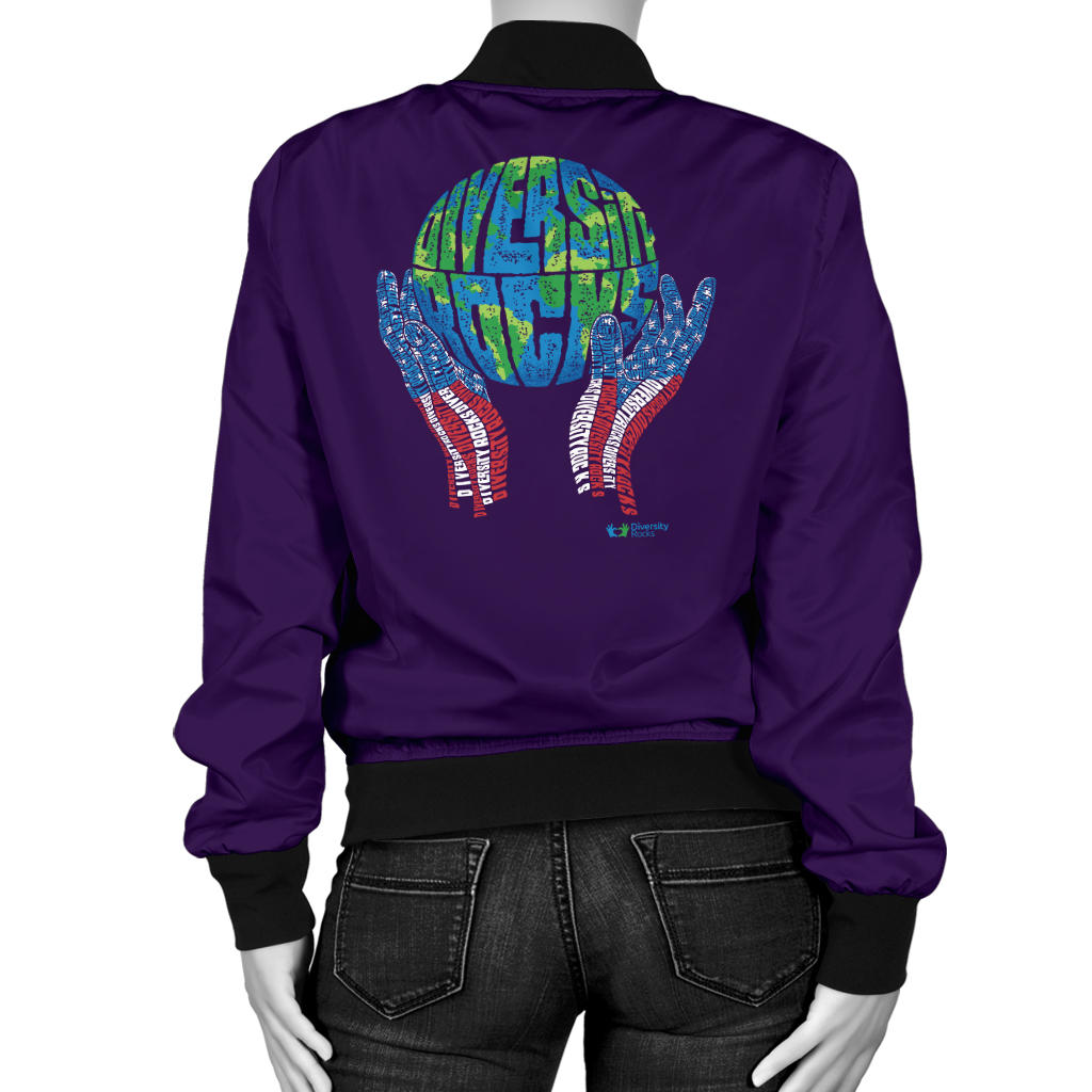 Dark Purple Diversity Rocks Women's Bombers Jacket
