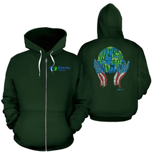Green Diversity Rocks Zippered Hoodie