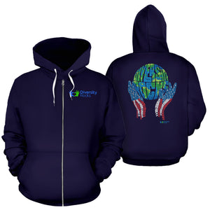 Navy Diversity Rocks Zippered Hoodie