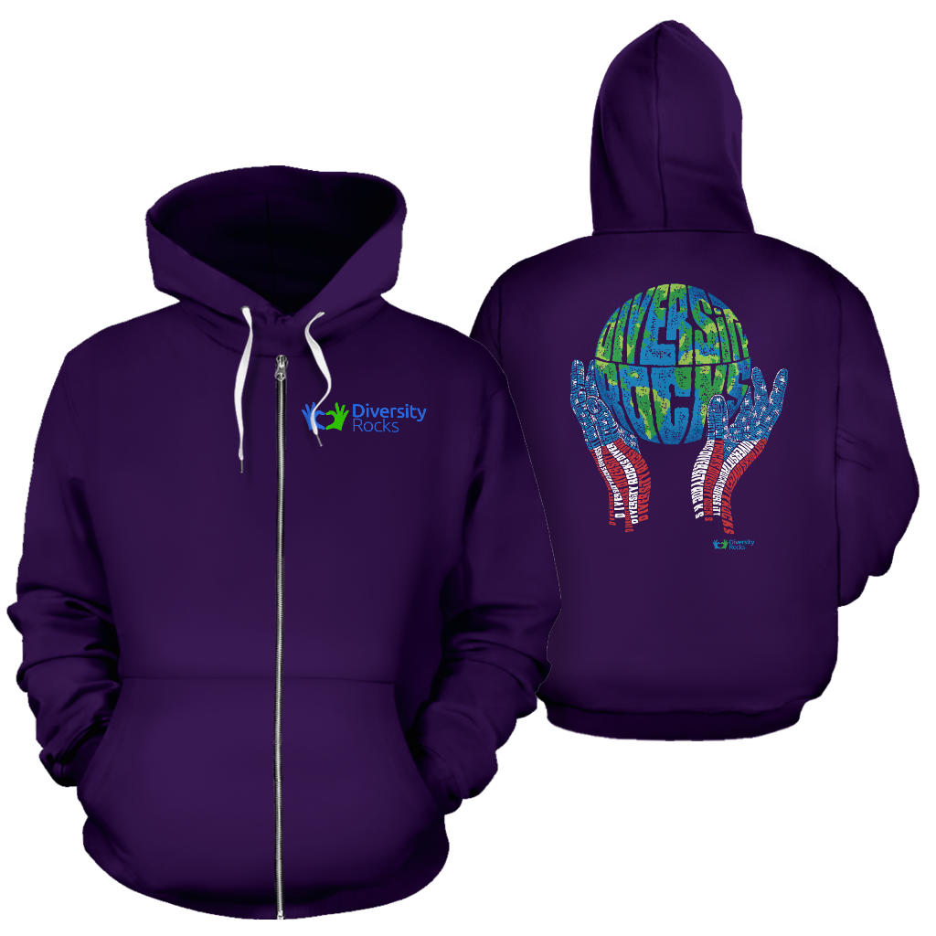 Dark Purple Diversity Rocks Zippered Hoodie