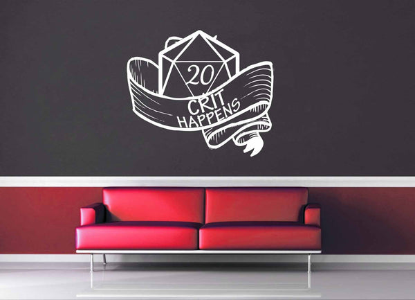 Crit Happens - Gamer Décor - Wall Decal - geekerymade