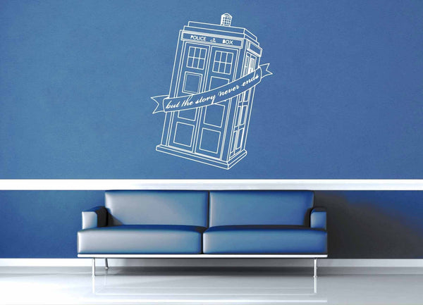 But the Story Never Ends - Doctor Who Quote - Wall Decal - geekerymade