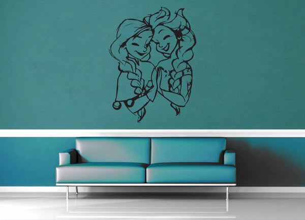Elsa and Anna - Wall Decal - No 2 - geekerymade