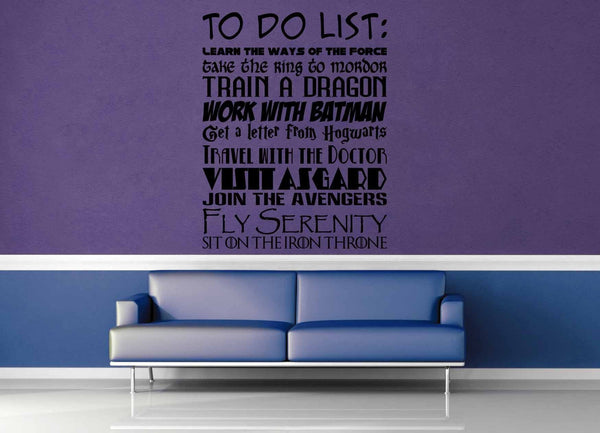 Fandom To Do List - Wall Decal - geekerymade