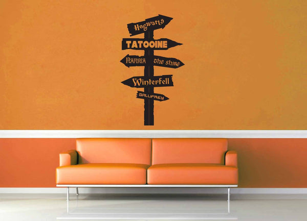 Fantasy Road Sign - Wall Decal - No 11