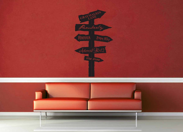 Fantasy Road Sign - Wall Decal - No 6 - geekerymade