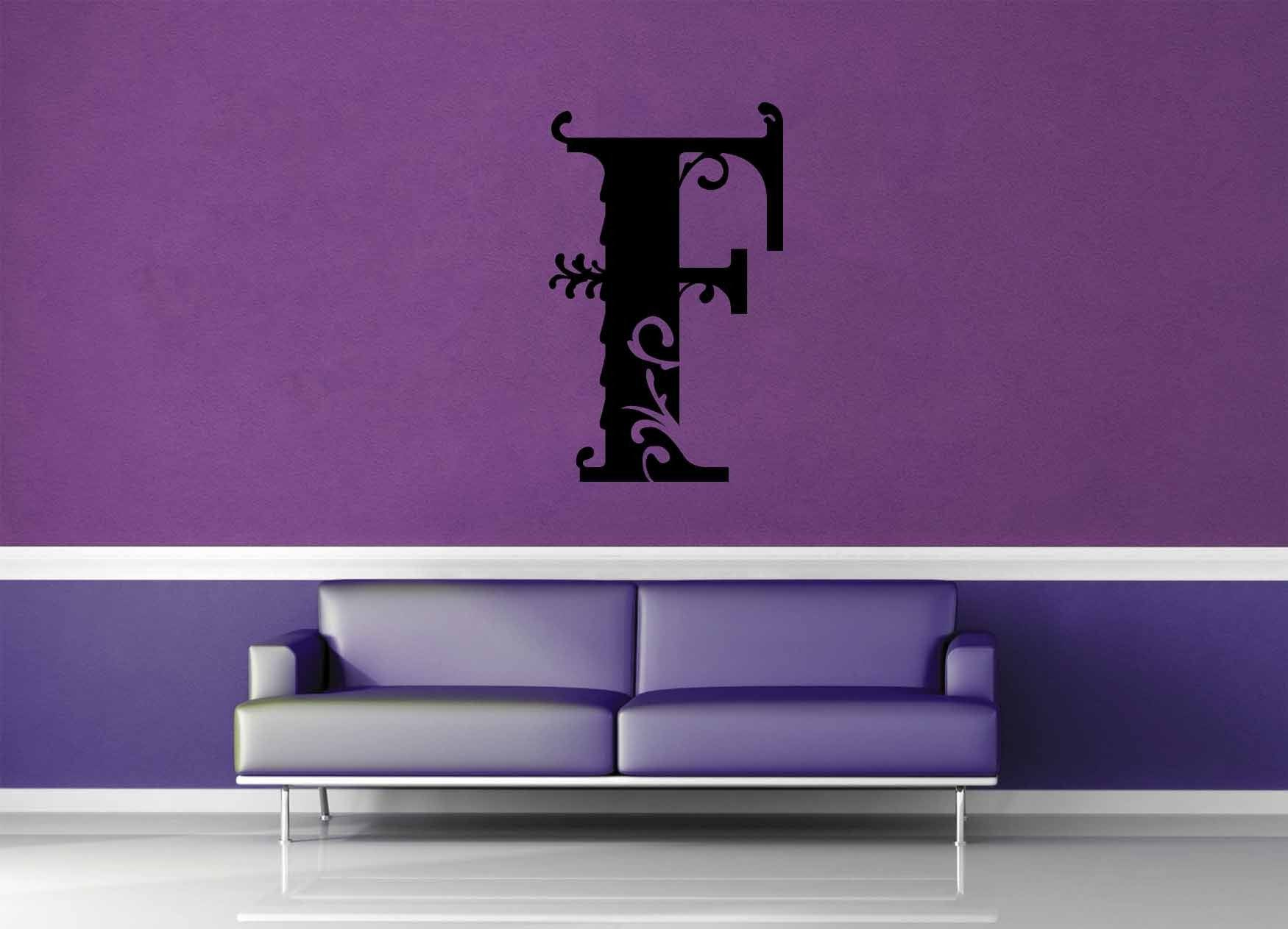 Floral Monogram - F - Wall Decal