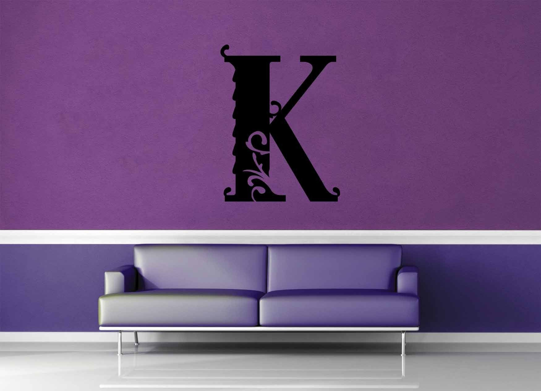Floral Monogram - K - Wall Decal