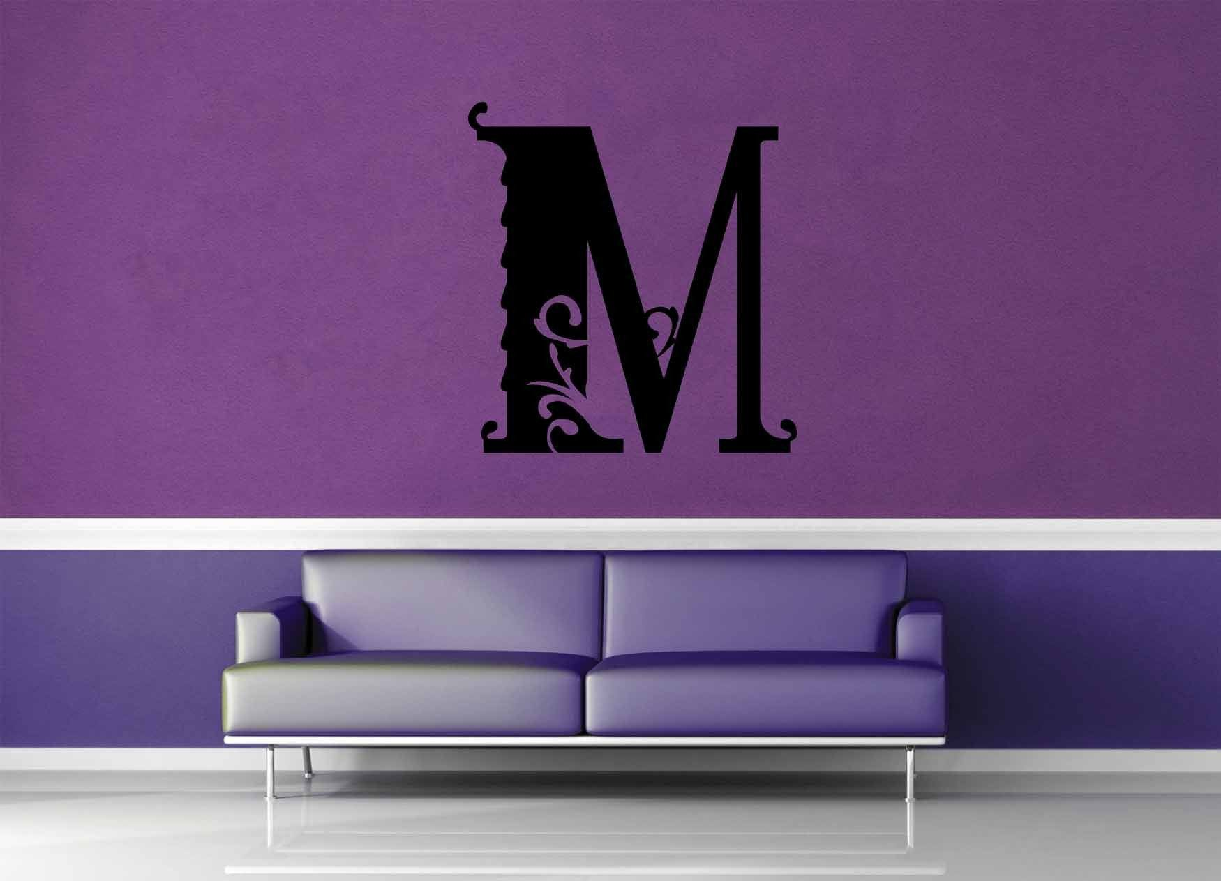 Floral Monogram - M - Wall Decal