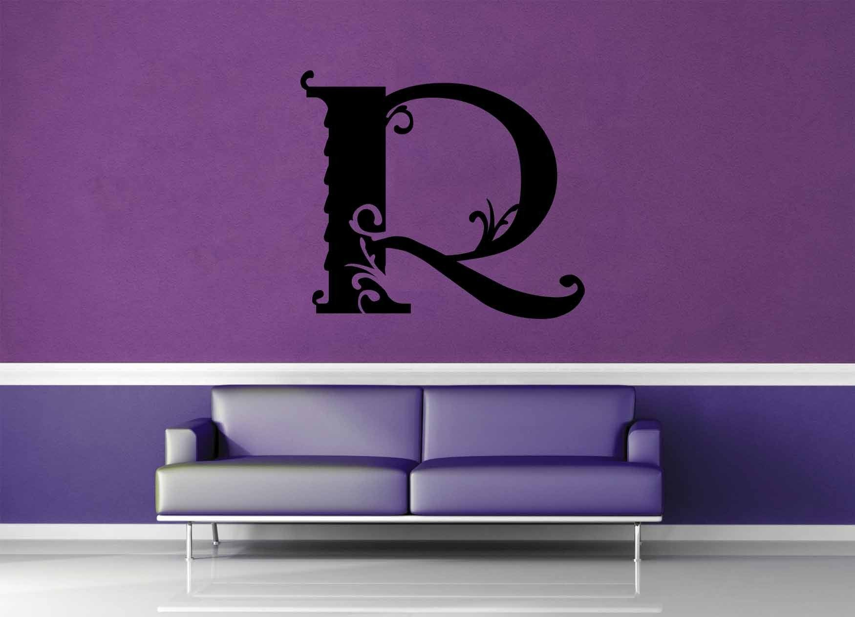 Floral Monogram - R - Wall Decal